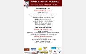 Matchs à domicile week-end du 19/20 janvier 2019