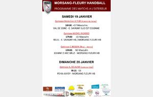 Matchs à l'extérieur week-end du 19/20 janvier 2019